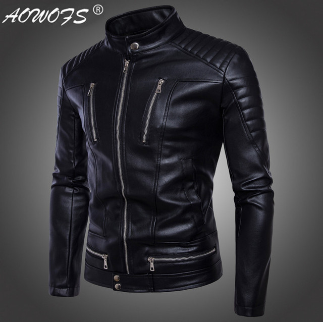 72a8638894fcb AOWOFS Newest British Motorcycle Leather Jacket Men Classic Design  Multi-Zippers Biker Jackets Male Bomber Leather Jackets Coats