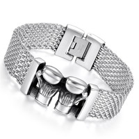 Boniskiss Double Gloves Men Stainless Steel Bracelet Silver Men Jewelry Accessories Male Wristband Pulseira