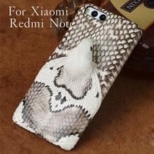 Wangcangli brand phone case real snake head back cover shell For Xiaomi Redmi Note full manual custom processing
