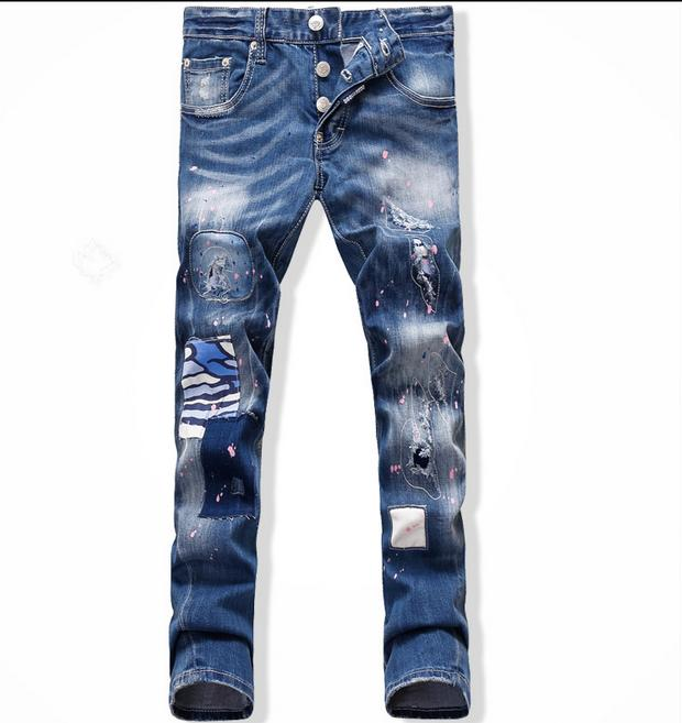 20106 Autumn and winter mens brands printed Sun Wukong overalls denim skinny slim straight best jeans