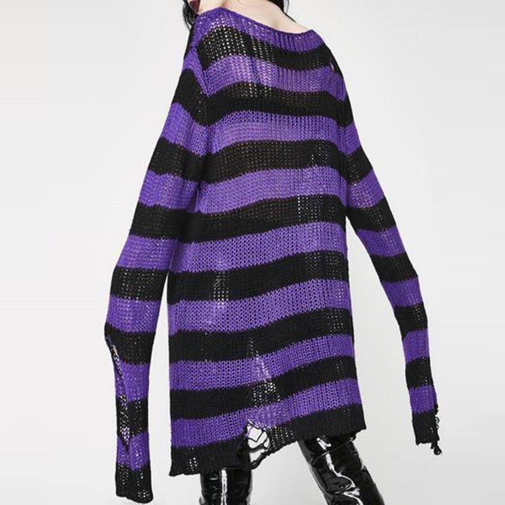 Rosetic Frauen Pullover Lange Pullover Striped Lose Befree Gothic Winter Jacken Loch Pullover Strick Jumper Sweter Mujer Goth
