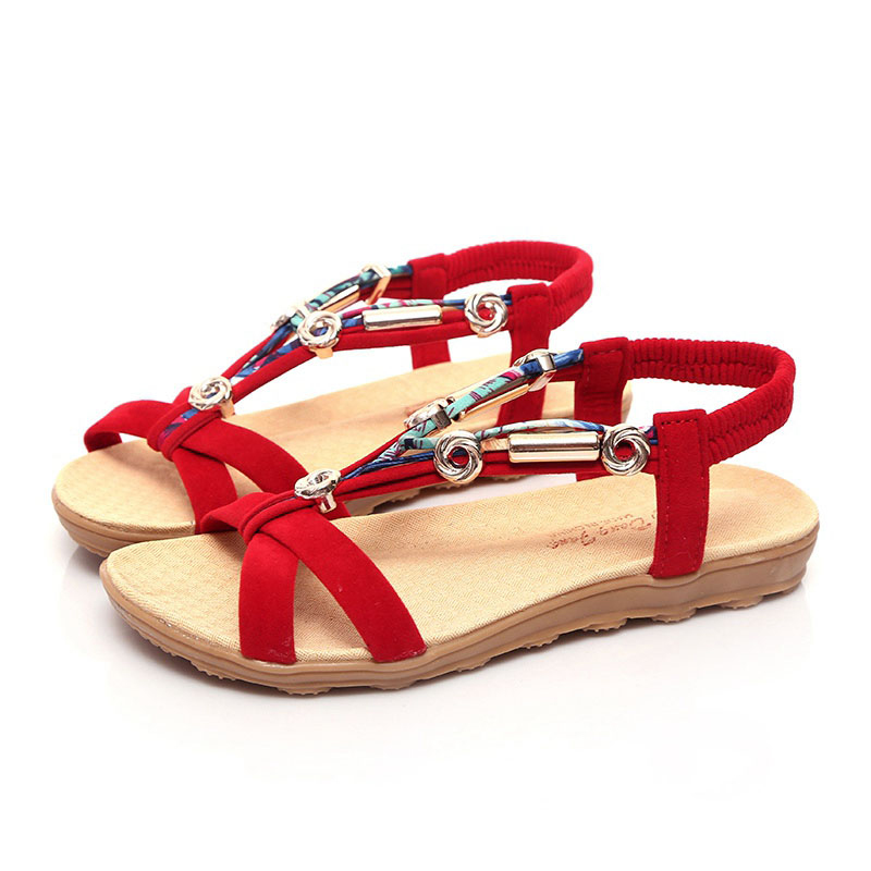 Women Sandals Bohemia Flats Sandals Beach Shoes Women Slip On Summer Shoes Plus Size 41 42 girl shoes in sri lanka