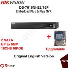 Hikvision Original English Version DS-7616NI-E2/16P 16CH POE NVR for HD IP Camera 6MP Resolution Recording Build-in HDD 1/2/3/4T