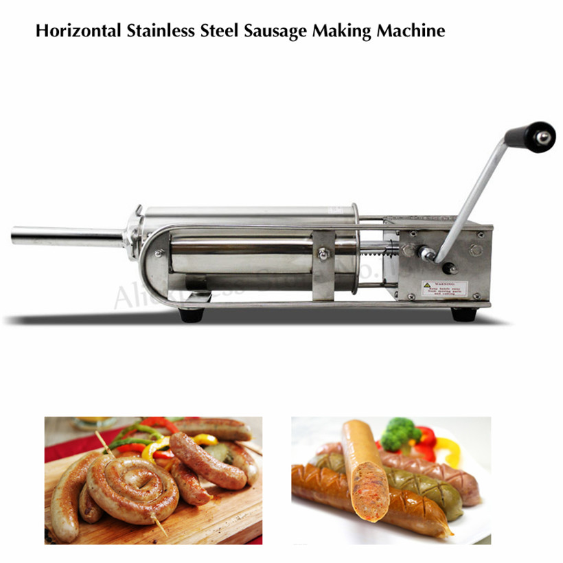 7L Horizontal Manual Stainless Steel Sausage Stuffer Butcher Shops Sausage Meat Filler Restaurants Spanish Churros Machine