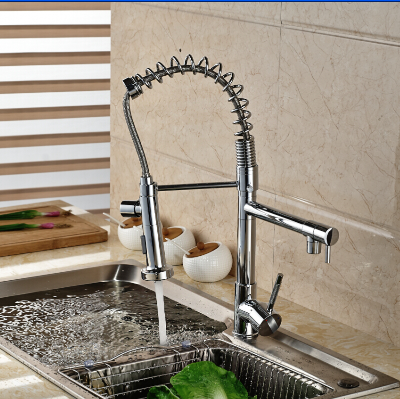 Modern Chrome Brass Kitchen Faucet Spring Style Vessel Sink Mixer Tap Deck Mounted Dual Sprayer golden brass kitchen faucet dual handles vessel sink mixer tap swivel spout w pure water tap