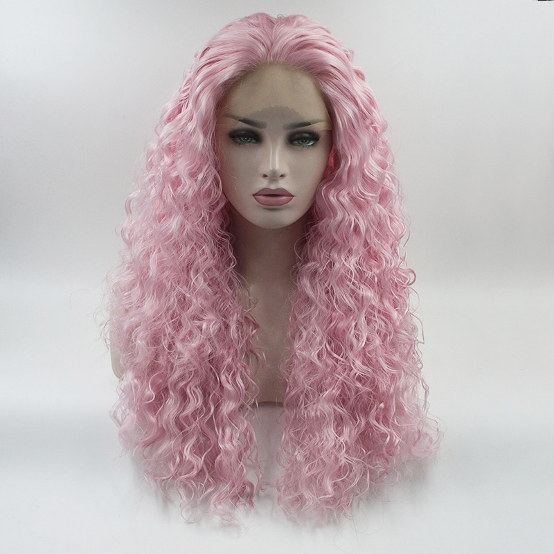 18 Long Black Mixed Pink Curly Celebrity Lace Front Wig Cosplay Hair+wig Cap Synthetic Wigs Hair Extensions & Wigs