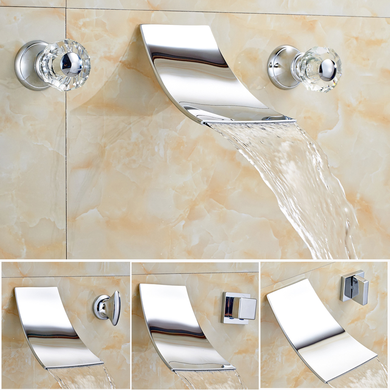 Chrome Finish Two Handles Three Holes Bright Chrome Bathroom Bathtub Basin Faucet Wall Mounted free shipping polished chrome finish new wall mounted waterfall bathroom bathtub handheld shower tap mixer faucet yt 5333