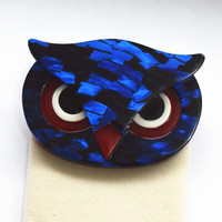 Figural Pearly Blue Owl Head Face Bird Brooch Pin Acrylic Brooches Pins Owl Pattern Brooch