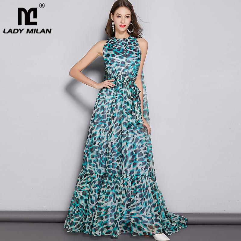 2019 vrouwen O Hals Mouwloos Leopard Gedrukt Floor Lengte Cape Fashion Party Prom Elegante Lange Designer Runway Jurken-in Jurken van Dames Kleding op  Groep 1