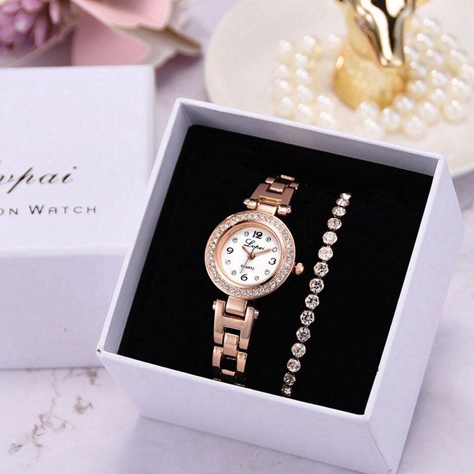 3pcs/Set Luxury Fashion Simple Dial Steel Strip Watch Women Full Diamond Bracelet Watches Quartz Relogio Wristwatch With Box