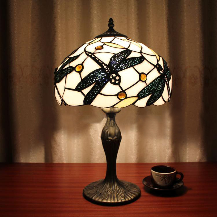 12 Inch Stained Glass Dragonfly Table Lamp Tiffany Art Creative Bedroom  Bedside Light Study European Vintage