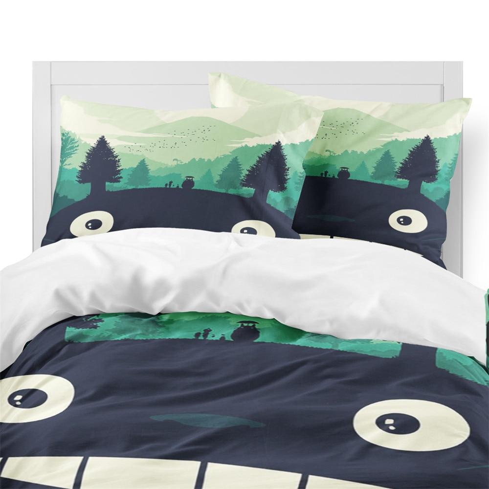Cuet Totoro Bedding Set Kids Cartoon Duvet Cover Set Colorful Plant Print Bed Cover Festival Gift Pillowcase Home Decor D40
