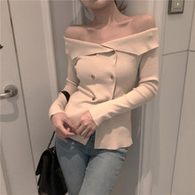 Sexy New Bodice Jacket with A Large Lapel Shoulder Clavicle Small Heart Machine Double Row Sweaters 2019 Winter  Slash Neck