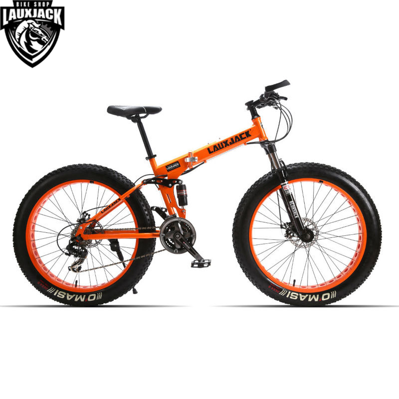 LAUXJACK Mountain Fat Bike Full Suspension Steel Foldable Frame 24 Speed Shimano Mechanic Brake 26