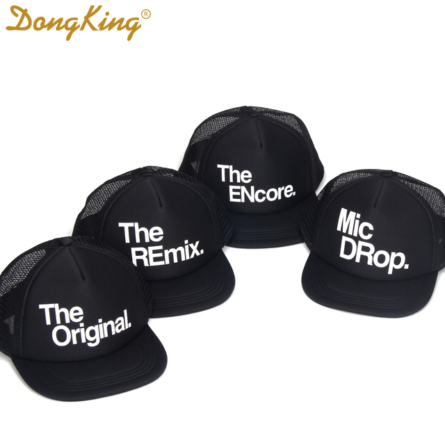 DongKing Family Trucker Hat Original Remix Encore Mic Drop Mommy Father Son  Brother Sister Twin Set Caps Kids Birthday Hats Gift 238397d5bf3