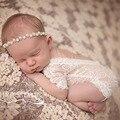 Lindo! 2017 Nueva Suave Bebé Recién Nacido accesorios de Fotografía Bebé Mameluco Del Cordón de La Manera Del Bebé Ropa Del Mameluco Del Bebé Mono Corto Blanco y Negro