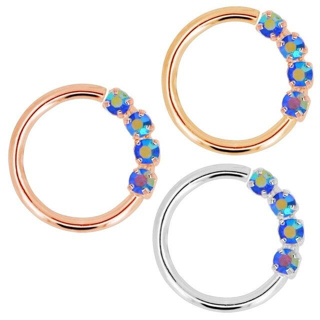 Фото кольцо в виде кольца для носа 18 г гибкие серьги с блестящими