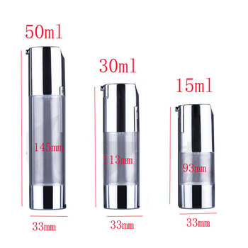 50ml silver empty plastic cosmetic airless bottles for skin care cosmetic packaging,airless cosmetic bottle ,botellas plastico