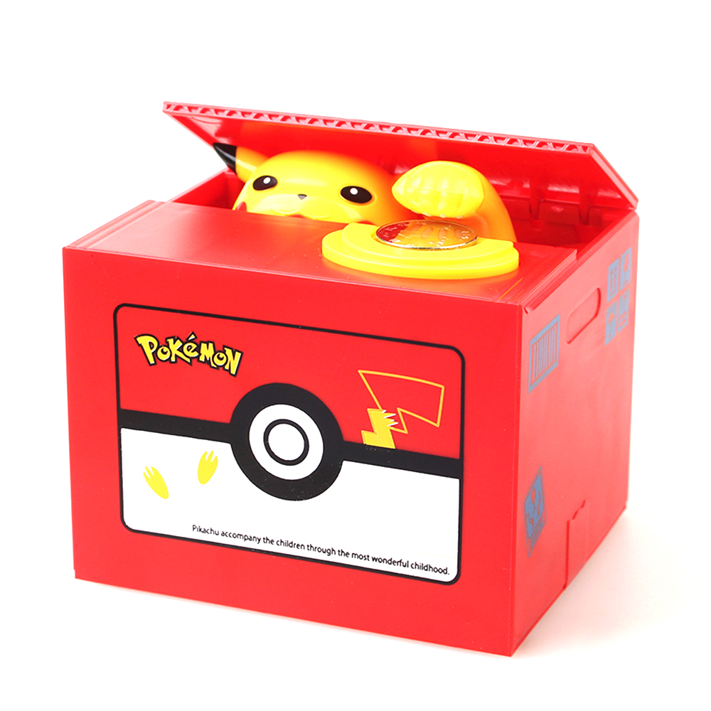 Pokemon Coin Storage with Music Safety Boxes Electric Automaticly Piggy Bank Money Safe Box For Kids Gift Desk Toy 12*10*9 CM