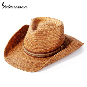 Image 4 - הגנת UV קיץ שמש כובעי לגבר נשים בעבודת יד רפיה קש טרילבי שווי חוף חג מגניב WGB0500005