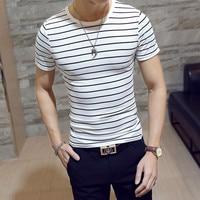 Новый летний корейский стиль Для мужчин футболка в полоску модные с круглым вырезом и короткими рукавами Slim Fit черный футболка в полоску мод