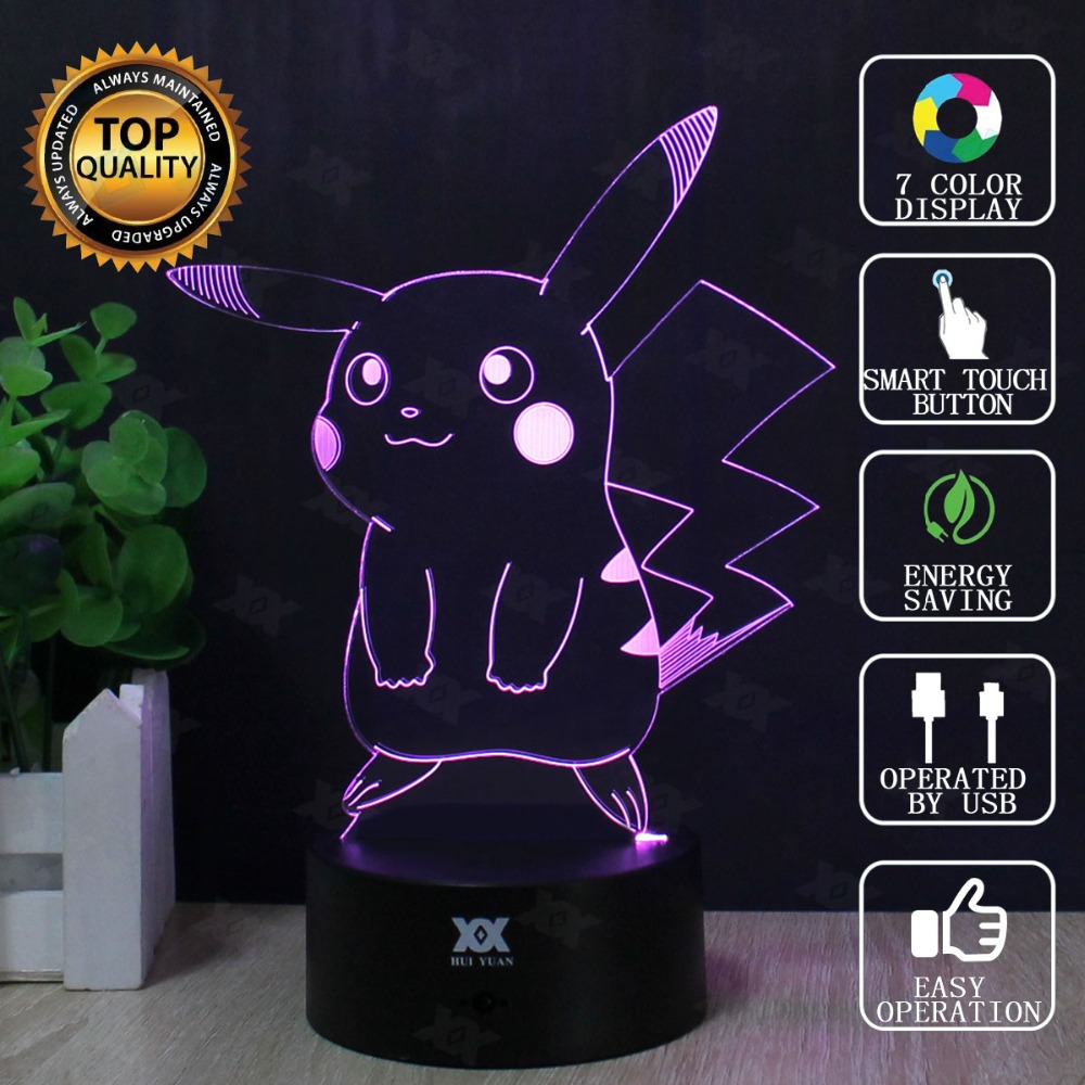Pokemon Go 3D Lamp Charmander Charizard Squirtle LED Decorative Table Lamp USB Novelty Night Lights Child's Gift HUI YUAN Brand