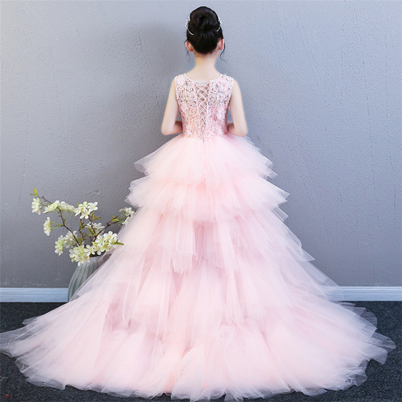 2018 Summer Luxury Children Girls Pink/Red/Blue Birthday Wedding Party Long Mesh Tail Dress Teens Kids Model Host Piano Dress