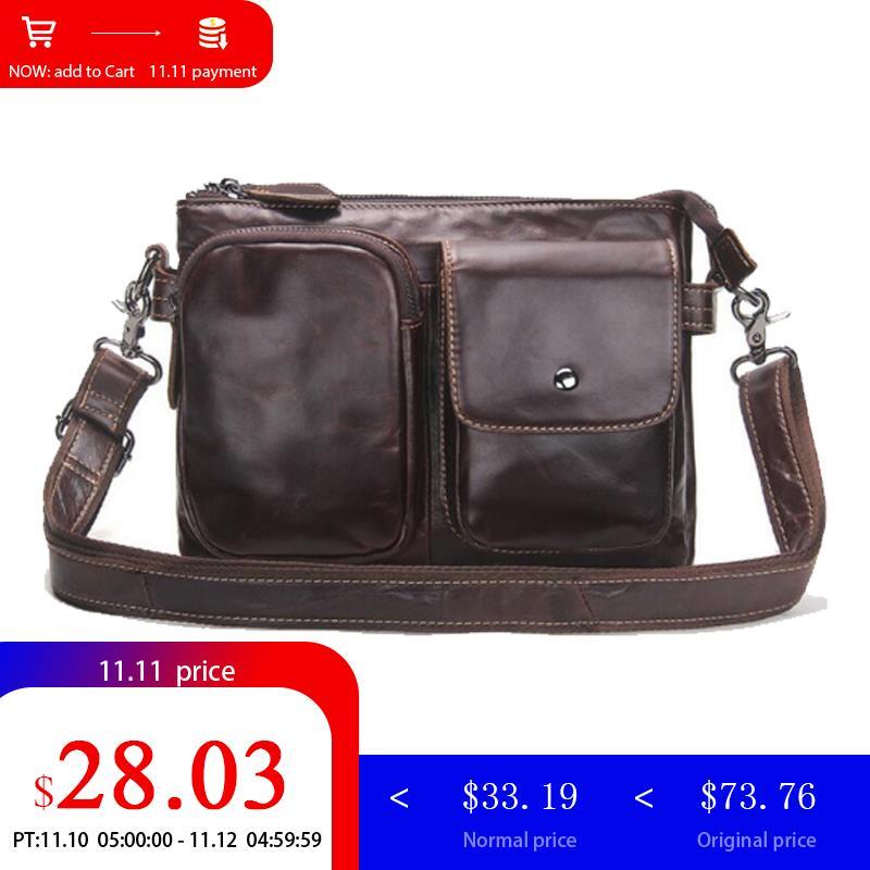 CONTACT'S Genuine Leather Briefcases Men Shoulder Bags Business Male Men Messenger Bag Designer Leather Crossbody Bag Men 2018