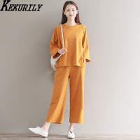 Early Autumn Han Edition Cotton And Linen Leisure Two Piece Long Suit Women Loose Wide Legged