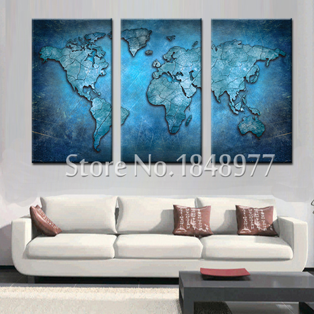 Genial 3 Panel Abstract Wall Art Cheap Modern World Map Oil Painting On Canvas  Sets For Living
