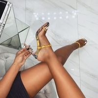 Woman Snake Pattern Super High Sandals Thin Heels Ladies Summer Slides Outdoor Fashion Party Shoes fashion women shoes size35 40