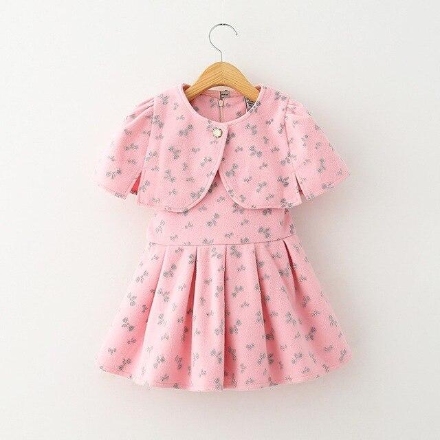 Девушка принцесса пальто платье детская мода ветровка платок + платье 2 шт. камвольно высокое качество 6 P / l бесплатная доставка