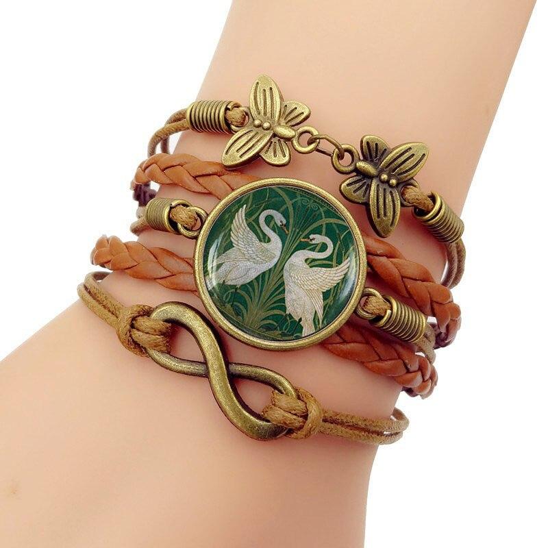 Bracelets faits à la main bracelet en cuir Art Nouveau cygnes verre convexe combinaison bijoux pour hommes pour femmes cadeau d'anniversaire