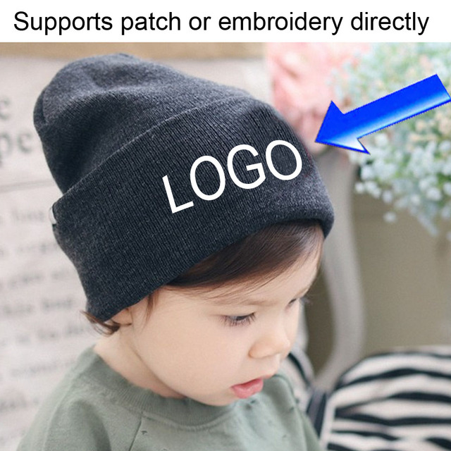 675423e3 Kids Beanie Customized Candy color hats baby winter Caps knitting LOGO  Embroidery Beanies Casual Warm Baby Girl Child Clothing