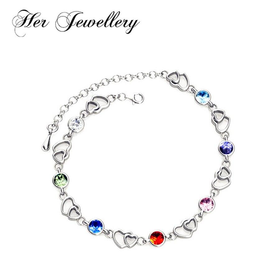 Bracelet en cristal de 6 couleurs avec pendentif en cœur et cristaux Swarovski HB0056
