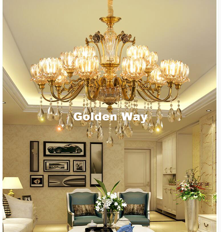 Brass Crystal Lustres Chandelier European Modern Crystal Chandelier E14 LED Factory Direct Selling 100% Guaranteed Free Shipping