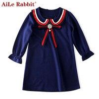 AiLe Tavşan Sonbahar Uzun Kollu Kız Elbise 2016 Yeni Casual Stil Kızlar Çocuklar Giysi için Giysi Karikatür Tavşan Nakış Elbise