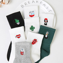Unisex Pure Cotton Socks Harajuku 2017 New Fashion Calcetines Girl Casual Socks Cute 3D Embroidery Pattern Men and Women Socks