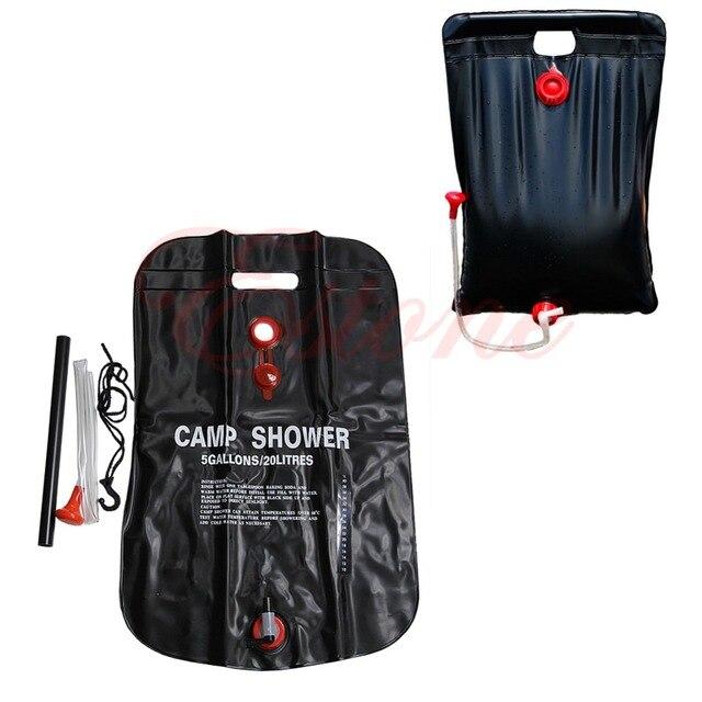c152ded44e 20L Portable extérieur Camping outil chaleur sac de douche solaire Camp  douche avec thermomètre