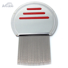 Get down to Nitty gritty Lice Comb Nit Free Kids Hair Rid Headlice stainless steel Metal Teeth remove nit brush–Red