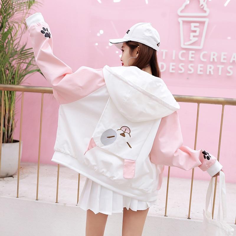 Women Cute Bear Coat Japanese Lolia Style Kawaii Girls Autumn Long Sleeve Jacket Female Harajuku Women's Streetwear Top Cloth 30