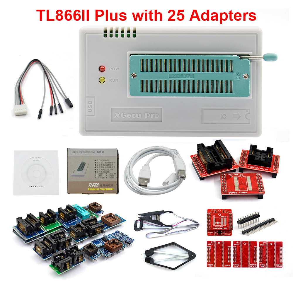 TL866II Plus V9.0 Universal Minipro Programmer with 28 Adapters and Test Clip