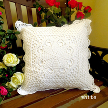 High quality  lace yarn hand crocheted knitting pastoral cushion cover