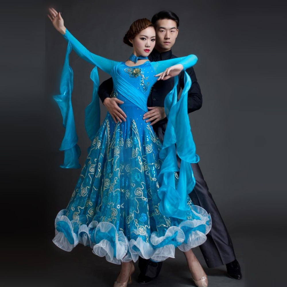 2018 new woman high-end boutique Ballroom Dance Costume Dress for competition blue/red sequins waltz/tango/foxtrot costumes
