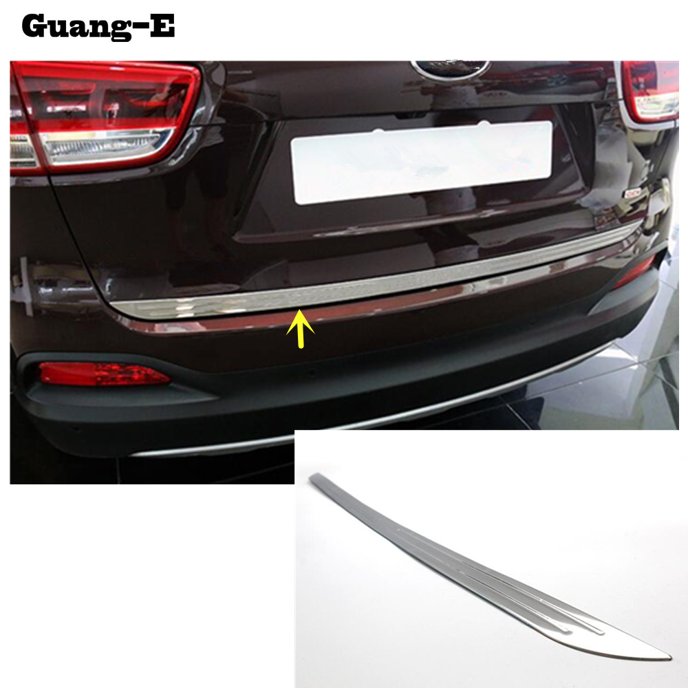 For Kia Sorento L 2015 2016 2017 stainless steel Rear back door License tailgate bumper frame plate trim lamp trunk 1pcs набор бокалов crystalex виола золотая спираль 2шт 350мл вино стекло