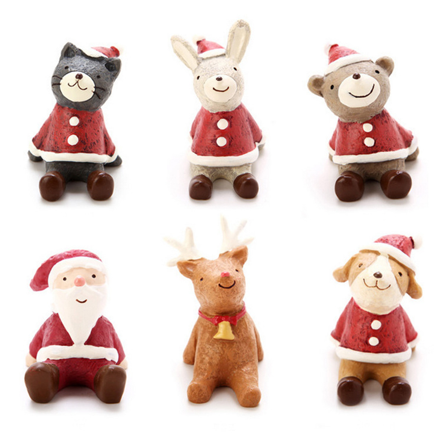 Dog christmas ornaments - 5pcs Lot Christmas Holiday Figurines Resin Cute Standing Santa Claus Reindeer Cat Dog Animal Christmas Baubles Ornament Supply