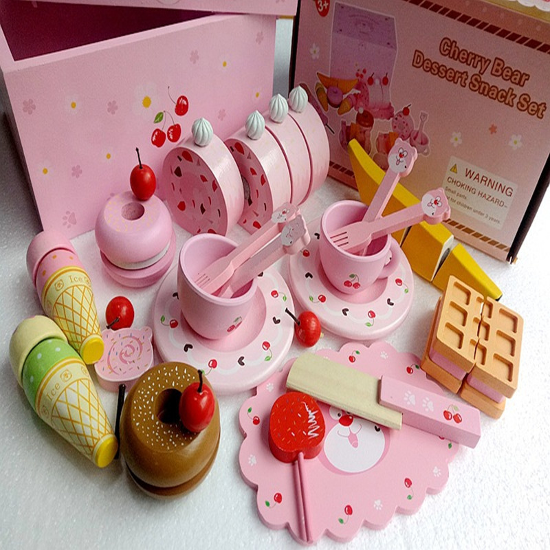Baby Toys Cherry Bear Dessert Snack Set Child Afternoon Tea Pretend Play Kitchen Toys Educational Wooden Play Food Toys gift купить