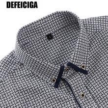 2019 DEFEICIGA Long Sleeve Dress Shirt Men Plus Size 7XL Solid hombre Causal Slim Fit Business Shirts Chemise Homme059