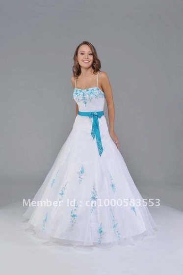 Blue And White Ball Gowns White and Blue Quincea...