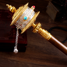 30cm Tibetan Suppliers Exquisite Biddhist Alloy Metal Hand Cranking Carving Crystal Decorate Quality Prayer Wheel Crafts
